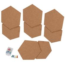 8PCS Hexagon Cork บอร์ด Photo Wall บอร์ดข้อความ Self Adhesive Bulletin สติกเกอร์สติกเกอร์สำหรับโฮมออฟฟิศ