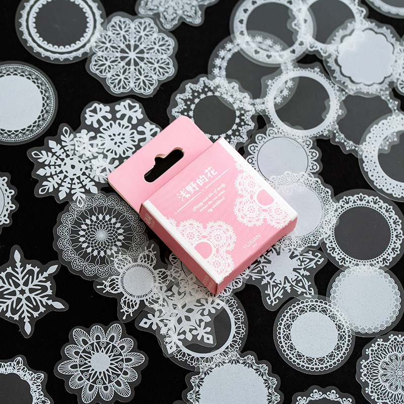 50 Pcs/pack White Lace Transparent Cute Boxed Kawaii Decoration Stickers Planner Scrapbooking Stationery Japanese Diary Stickers