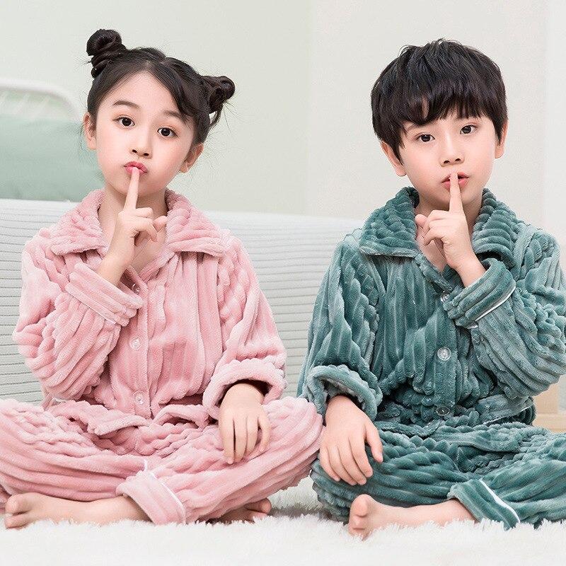2021 nuevo Otoño Invierno pijama de franela de los niños de espesor cálido niños y niñas gruesa ropa de dormir primavera pijamas de los niños