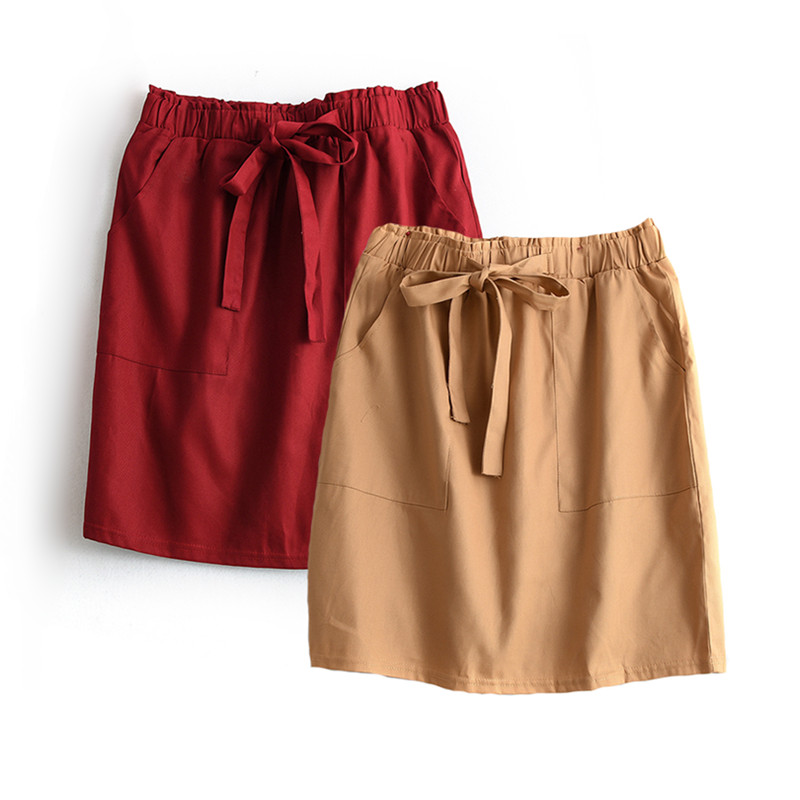 Streetwear Midi Skirt Summer Women High Waist Lace-Up Mini Skirts With Pocket Jupe Femme Slim Pencil Skirt Saia Faldas Feminino