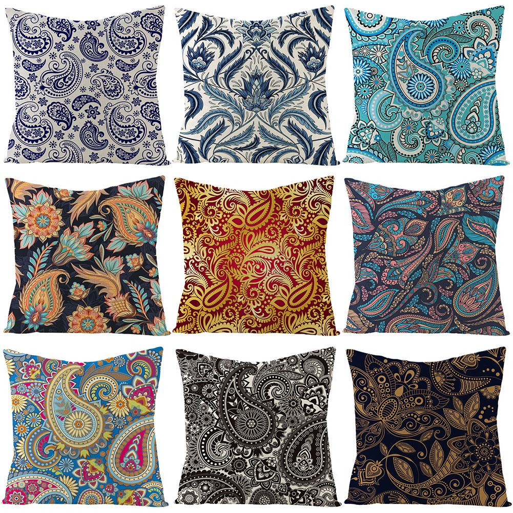 Hot 45x45cm Paisley Flower Leaf Pattern Cushion Cover Pillow Case Home Sofa Decor