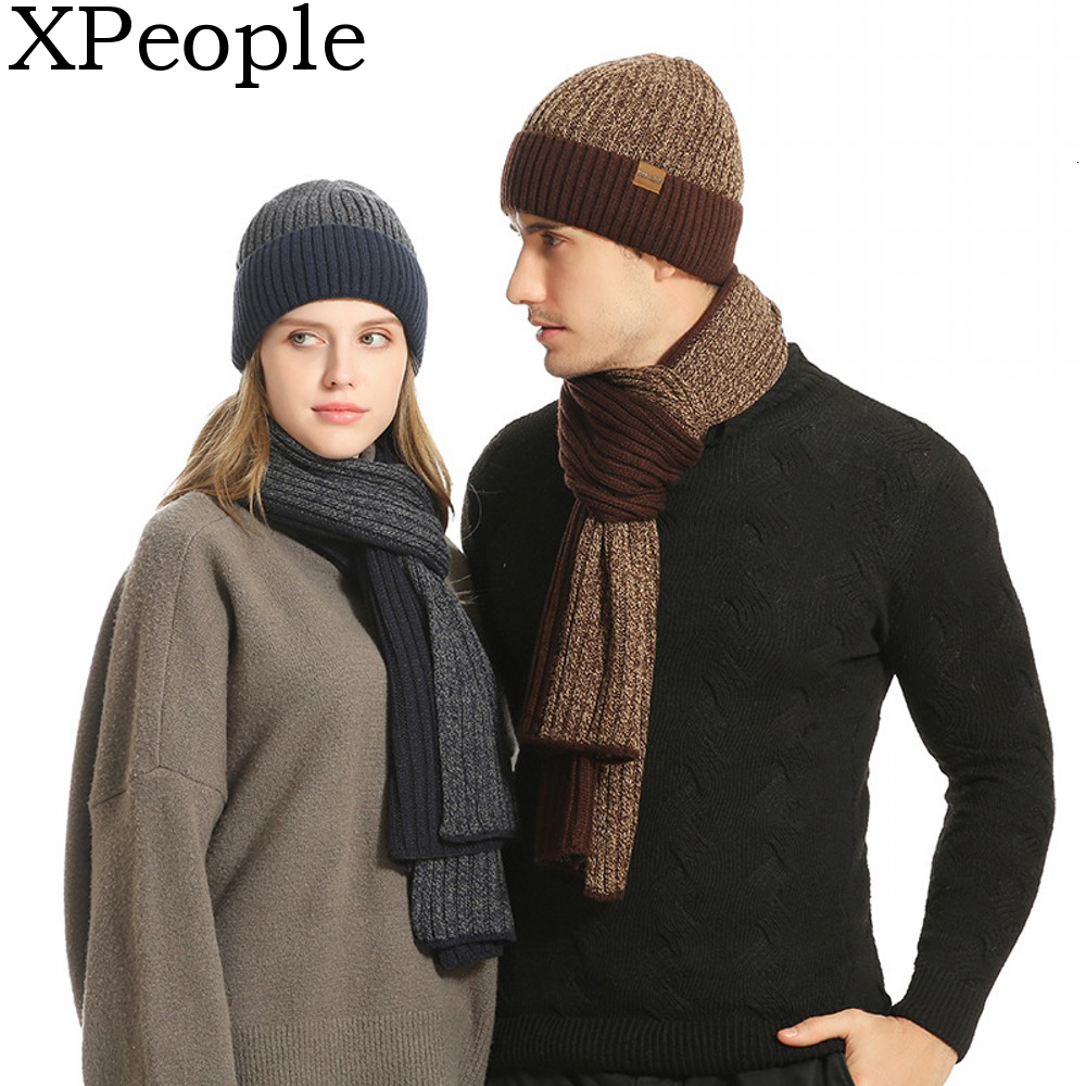 XPeople Soft Fleece Lined Warm Winter Men 3 PCS Knitted Set Knit Hat Long Scarf Touch Screen Gloves Gift Set Matching Winter Set
