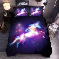 Ambilight Unicorn Printing Bedding Set Quilt Cover Bedclothes Pillowcase Duvet Cover Set Queen King Size Girls Bedroom Decor