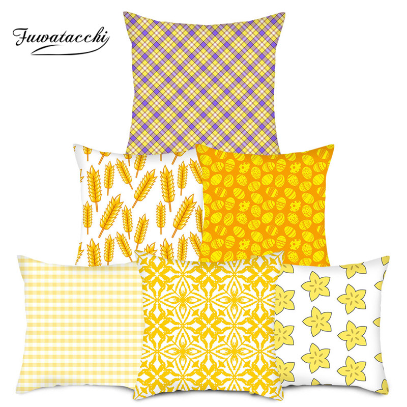 Fuwatacchi Banana Pattern Throw Pillow Cover Yellow Geometric Cushion Cover For Home Chair Sofa Decorative Pillowsases 2019