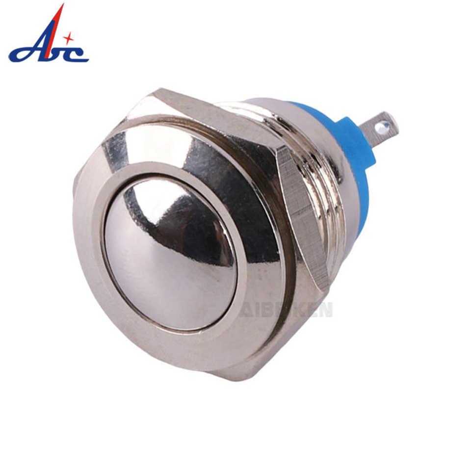16 มม.เปลือกโลหะ 220 V/120 V ปุ่มสวิทช์ชั่วขณะสูงรอบทองเหลืองชุบนิกเกิล 1NO สกรู terminal สวิทช์กันน้ำ