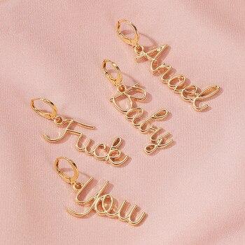 1 Pair Women Fashion Simple Asymmetric Letter Alphabet Dangle Earrings For Women Personality Earrings Jewelry Gifts
