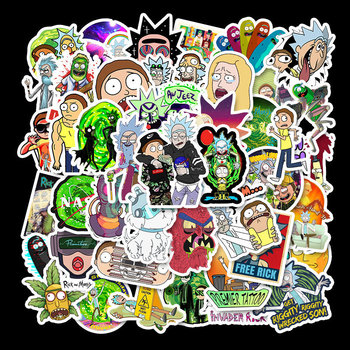 50Pcs Drama Rick and Morty  Stickers Decal for Laptop Snowboard Luggage Car Fridge DIY Styling Vinyl Home Decor Pegatina 35pcs rick and morty vinyl stickers decal for window car laptop