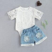 Комплекты одежды FOCUSNORM для маленьких девочек и мальчиков 0-24 мес., кружевной комбинезон с цветочным принтом и коротким рукавом, топы, джинсов...