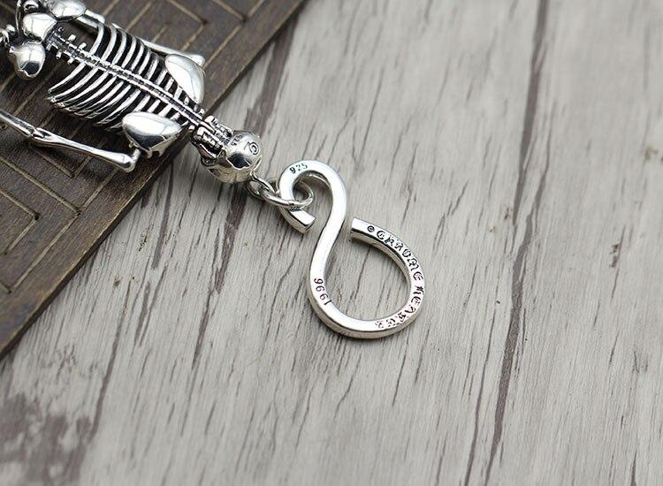 S925 sterling silber schlüssel ring Retro persönlichkeit hip hop schädel einzigartige tasche taste Thai silber punk schlüssel kette Senden liebhaber geschenk - 2