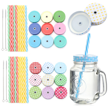 Jar-Covers Mason Jar Cleaning-Brush Tinplate Kitchen Hot Mouth with Straws-Hole Dining-Supplies