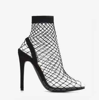 Sıcak kadın kırmızı siyah çıplak sivri burun PVC dantel keser şeffaf Stiletto topuklu yarım çizmeler seksi kayma moda yarım çizmeler