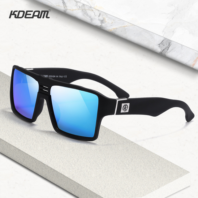 KDEAM Square Polarized Sunglasses Men Keyhole Bridge 6-base Coated Sun Glasses with Wide Panels Leg