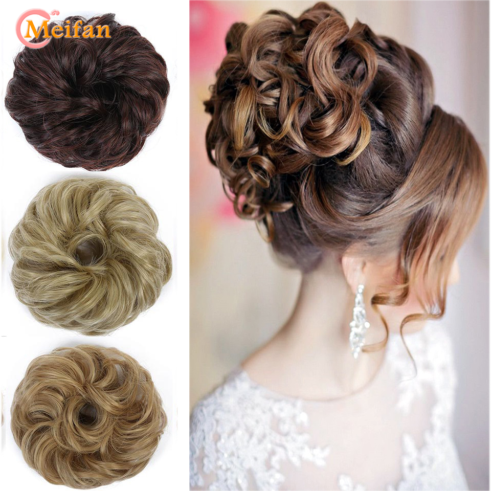 MEIFAN Girls Curly Scrunchies Chignon With Rubber Band Brown Black Synthetic Hair Ring Wrap For Hair Bun Ponytails Extensions