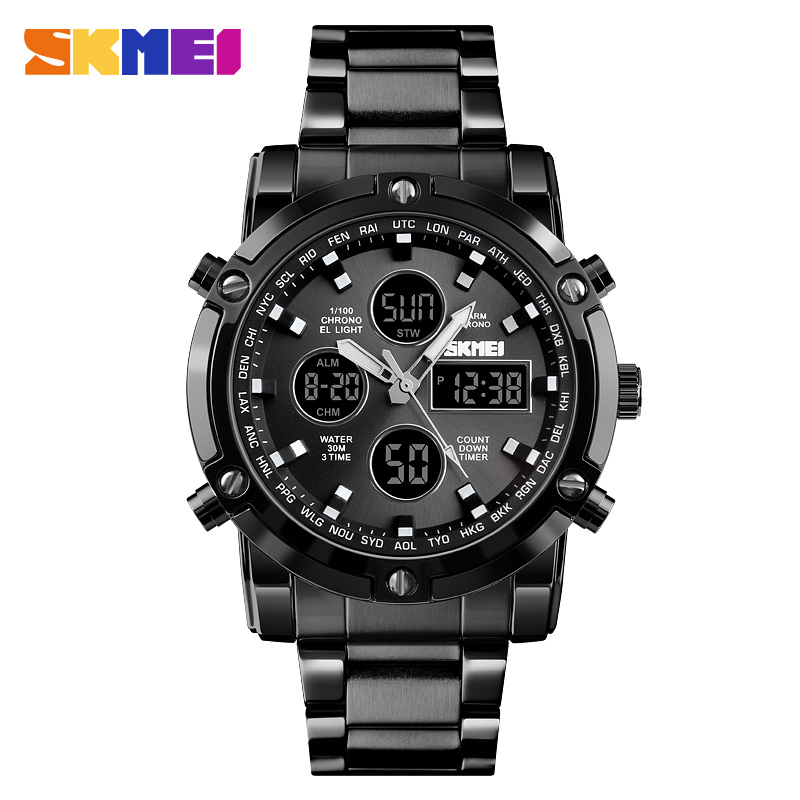 <font><b>SKMEI</b></font> Men Digital Watch Fashion Sports Watch Countdown Stainless Steel Strap Men Wristwatch Quartz Clock Relogio Masculino <font><b>1389</b></font> image