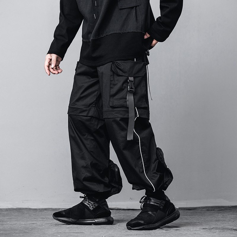 Hip Hop Cargo Removable Pants Streetwear Harajuku Pant Joggers Tactical Harem Trousers Male Big Pocket Elastic Waist DG535