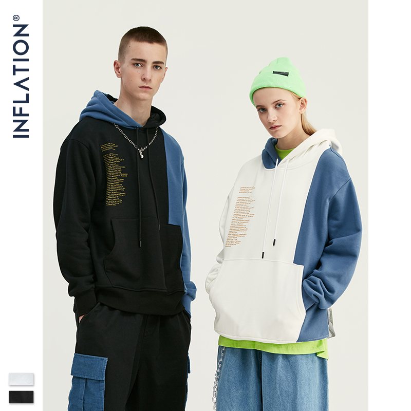 INFLATION Design 2020 Contrast Color Men Hoodies With Pouch Pocket Loose Fit Mens Streetwear Autumn Winter Man Hoodies 9638W
