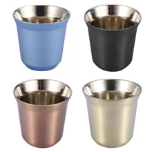 85ml Double Wall Glass Cup Coffee Mug Thermal Travel Gift Shot Eco-Friendly Round Top