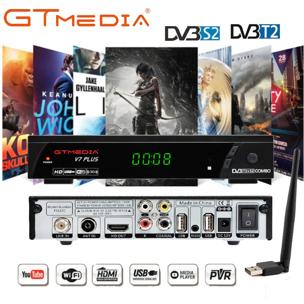 GTMEDIA V7 PLUS DVB-S2 & T2 Combo Receiver Support H.265 PowerVu Biss 1 YEAR CCCams Newcamd Youtube Update From Freesat V7 Combo