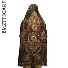 Последние африканские шарфы мусульманский женский шарф с вышивкой дизайн на спине модный дизайн большой хлопковый шарф для шали BM601