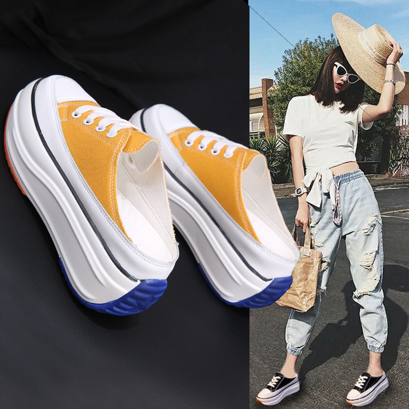 2020 Summer New Half Slippers Baotou Without Heel Inside Increase Women's Sneakers Outdoor Canvas Walking Shoes Women ZZ-245