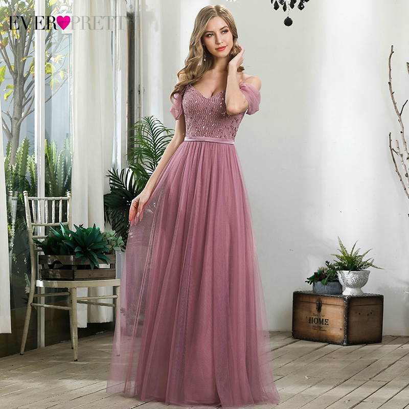 Illusion Dusty Pink Evening Dresses Ever Pretty Sequined A-Line V-Neck Cold Sleeve Tulle Sexy Party Gowns Robe De Soiree 2020