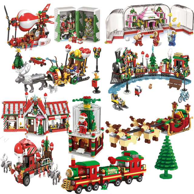 2019 New Christmas Sets Village Train Hot Air Balloon Compatible With Legoinglys Model Building Blocks Bricks Toys Gift No Box 5