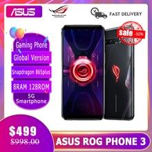Smartphone asus rog telefone 3 8g ram 128g rom versão global snapdragon 865plus 6000mah 144hz 2sim cartão indiano plug em estoque rog3