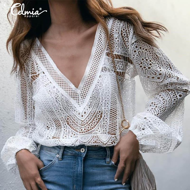 Celmia Elegant White Lace Blouse Women Shirt Sexy Hollow Out Embroidery Blusas Feminine Long Sleeve V Neck Summer Tops Plus Size