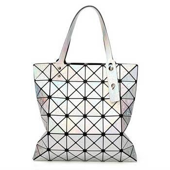 6*6 Newest Tote Bags Geometry Drip Japan Style Women Geometry Bao Tote Handbag Laser Diamond Lattice Shopper Folding Bag - laser silver