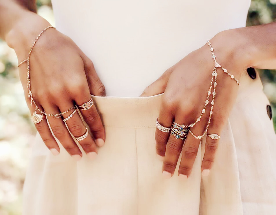 Real 100%  925 Silver Slave Chain Bracelet Connected Finger Ring Palm Crystal Handlets Jewelry Layers AAA Sparking Cz For Women