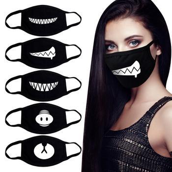 Coreano expresión divertida sonrisa anti polvo mascarilla boca boca para boca negro kpop unisex kawaii cara boca mufla máscara a