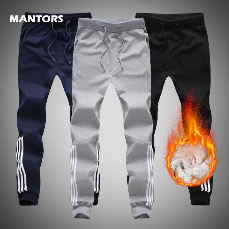 2019 Men's Joggers Pants Winter Thicken Fleece Warm Pants Slim Fit Sweatpants Fashion Men Trousers Outdoor Sports Pencil Pants