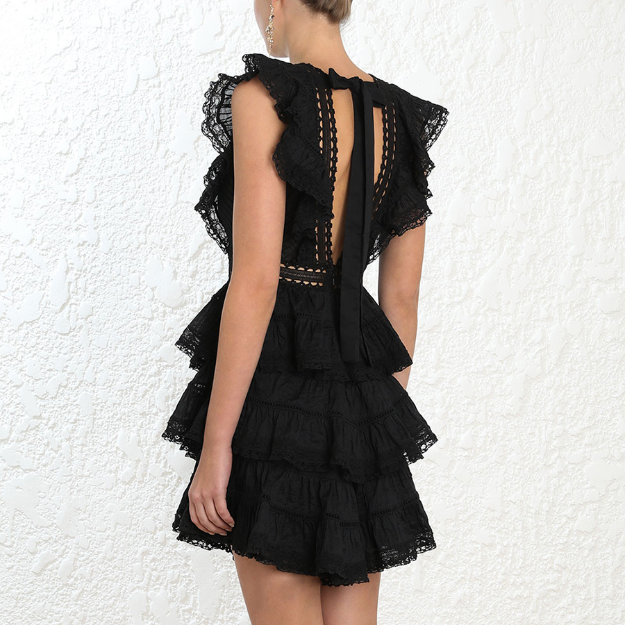 Hot 2019 Summer Solid Lace Women Dress Hollow Out Patchwork Draped Cascading Ruffle Elegant Mini Dress Drawstring Backless Dress in Dresses from Women 39 s Clothing