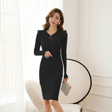 Solid Casual Fall Clothes for Women Long Sleeve Knitted Black Dress Autumn Winter Sweater Dresses with Zipper Good Elastic