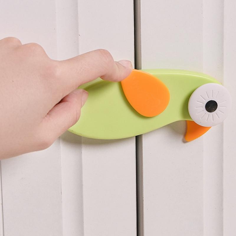 Cute Bird Cartoon Safety Locks For Refrigerators Door Infant Baby Protection From Children Lock Castle Security Blocker Padlock