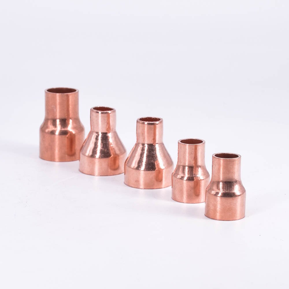 16 19 22mm To 6.35 8 10 12.7 15mm ID 99.9% Copper End Feed Solder Reducer Reducing Plumbing Fitting Coupler For Air Condition