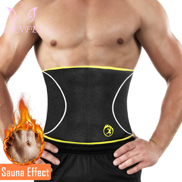 LANFEI Men Waist Trainer Belts Sauna Slimming Body Shapers Girdle Neoprene Workout Sweat Waist Trimmer Corset for Weight Loss