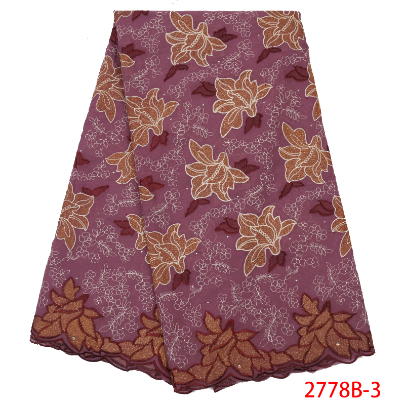 Best Selling African Cotton Lace High Quality Swiss Voile Lace Embroidered Fabric With Stones African Lace Fabric KS2778B-3
