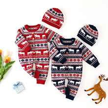 Baby Girls Christmas Rompers Autumn Long Sleeve Newborn Boys Jumpsuits Reindeer Knitted Toddler Overalls Children Clothing
