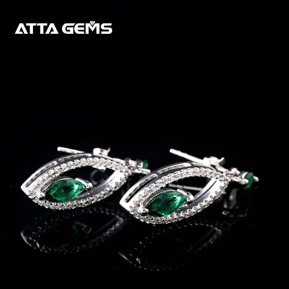 Green Emerald Sterling Silver Drop Earring Women Popular Style Synethetic Emerald S925 Marquise Cut for Party Anniversary Gifts