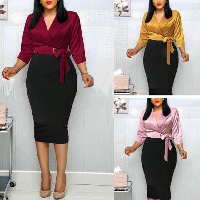 Md 2020秋冬プラスサイズドレスアフリカ女性ピンクブラックパッチワークドレスエレガントなオフィスの女性のドレスvネックパーティーローブ