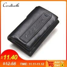 CONTACTS cartera de piel auténtica para hombre, cartera con monedero, llavero de alta calidad