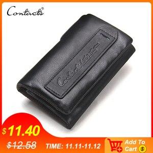 Image 1 - İletİşİm hakiki deri erkek anahtar cüzdan küçük erkek çanta ile sikke cep anahtarlık adam çantası kahya yüksek kaliteli anahtarlık