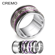Cremo Titanium Stainless Steel Rings Vintage Black Ring Hallowmas Band Interchangeable Reversible Innter Femme Bijoux