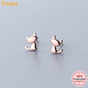 Trustdavis Genuine Fashion 925 Sterling Silver Sweet Cute Animal Little Cat Stud Earrings For Women Girl Kids Lady Jewelry DA261