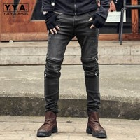 2020 Spring New Vintage Zipper Men Slim Stretch Jeans High Street Pockets Casual Pencil Pants Fashion Biker Denim Trousers