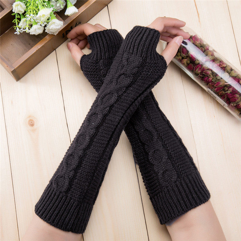 Autumn And Winter 8 Word Hemp Pattern Short Paragraph Fingerless Wool Gloves Men And Women Knit Warm Half Finger Arm Sleeve O23
