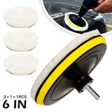 6 polegada de lã polimento almofada carro pintura cuidados polidor adaptador polimento composto conjunto para carro detalhando polimento