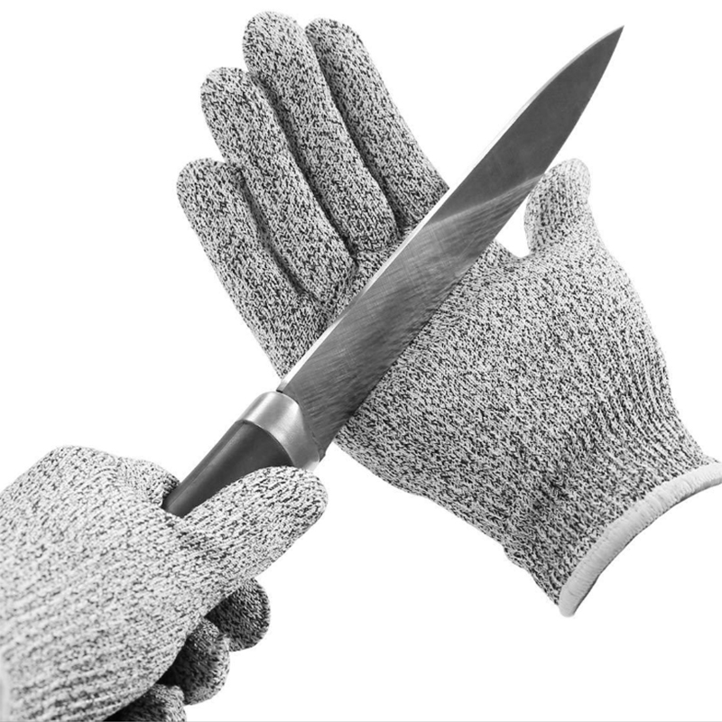 Anti Cut Proof Gloves HPPE EN388 ANSI Anti-cut Level 5 Safety Work Gloves Cut Resistant Gloves Hot Sale GMG Grey Black