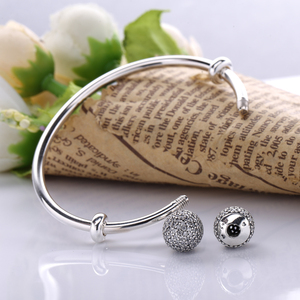 Image 5 - Moonmory Moments Silver Open Bangle with Pave Caps S925 Sterling Silver bead Bracelet with Red Zircon Diy Charm Bangle Jewelry